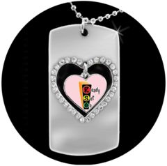 Pink Swinging Heart Dog Tag Pendant Jewelry