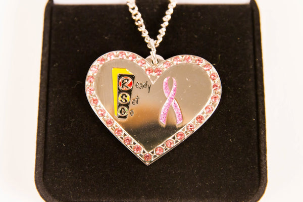 Inspirational Ready Set Go Heart Pendant in Gift Box to Support Breast Cancer