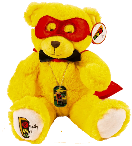 Brian the Superhero Therapy Bear Set with Green Camouflage Pendant