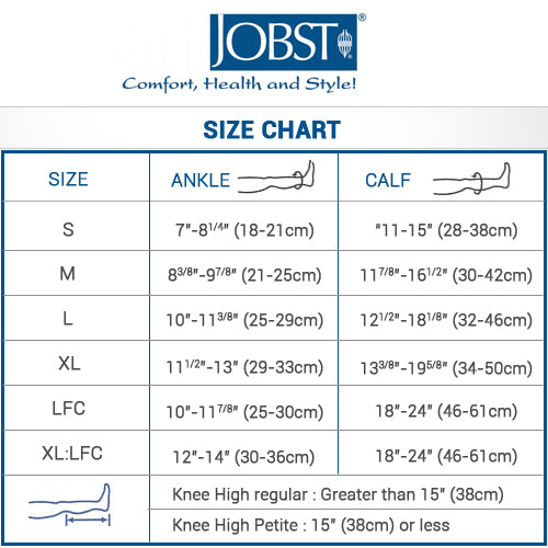 Jobst compression stockings and socks size chart