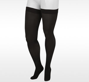 Juzo Basic 4411AGFFSB10 Black Thigh High Full Foot Silicone Top band Compression Stockings 20-30 mmhg