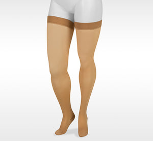 Juzo Basic 4411AGFFSB14 Beige Thigh High Silicone Top Band  Compression Stockings 20-30 mmhg