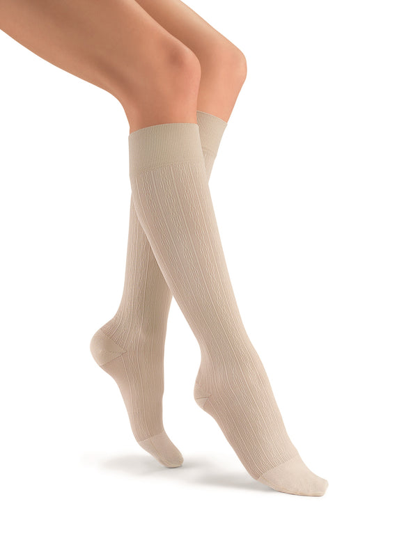 Jobst soSoft 8-15 mmHg Closed Toe Brocade Pattern Knee High Compression Socks