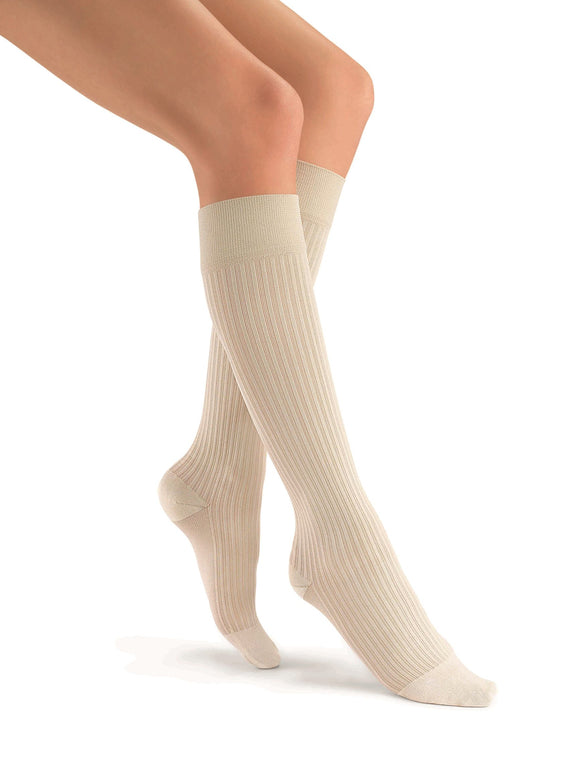 Jobst soSoft 8-15 mmHg Closed Toe Ribbed Pattern Knee High Compression Socks