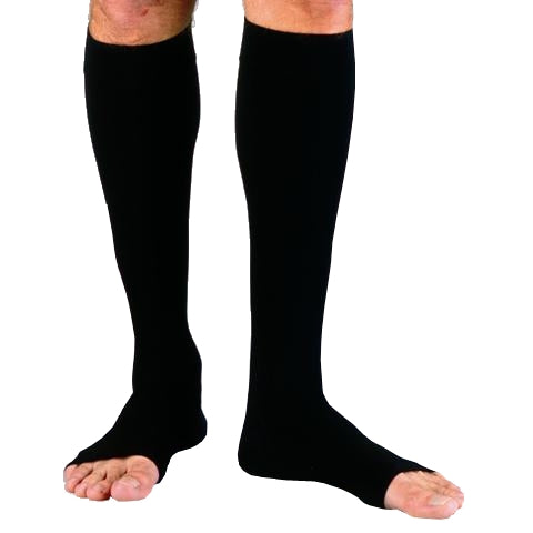 Jobst for Men 20-30 mmHg Black Open Toe Knee High Compression Socks