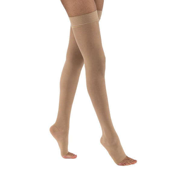 Jobst UltraSheer 15-20 mmHg Open Toe Thigh High Dot Band