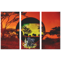 Elephant Sunset 3 Canvas Set - The Green Gypsie