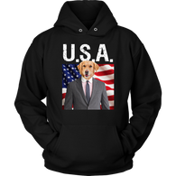 Johnny Golden Retriever USA Hoodie - The Green Gypsie