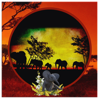 Elephant Sunset Square Canvas - The Green Gypsie