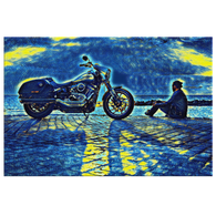 Motorcycle - Starry Night Canvas - The Green Gypsie