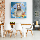 Henry Basset Hound Square Canvas - The Green Gypsie