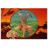 Lucy & Ricky Giraffe Rectangle Canvas - The Green Gypsie