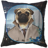 Pugsley City Pug Pillow