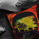 Elephant Sunset Pillow - The Green Gypsie