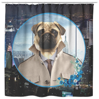 Pugsley City Pug Shower Curtain