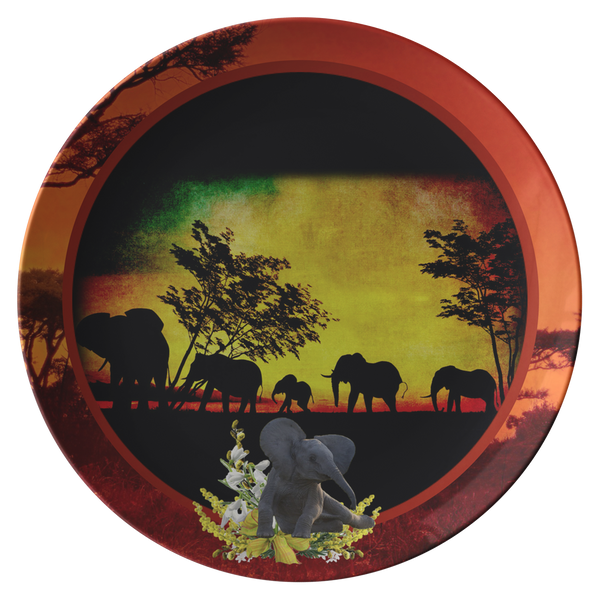 Elephant Sunset Plate