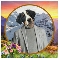 Bernie Bernese Mountain Dog Square Canvas - The Green Gypsie