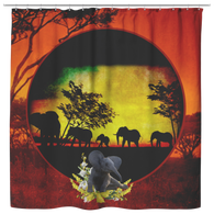 Elephant Sunset Shower Curtain - The Green Gypsie