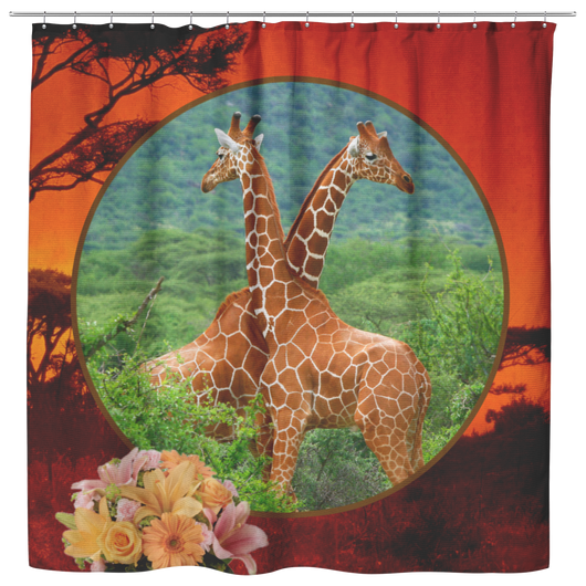 Lucy & Ricky Giraffe Shower Curtain - The Green Gypsie