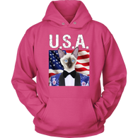 Scooter Siamese Cat USA Hoodie - The Green Gypsie