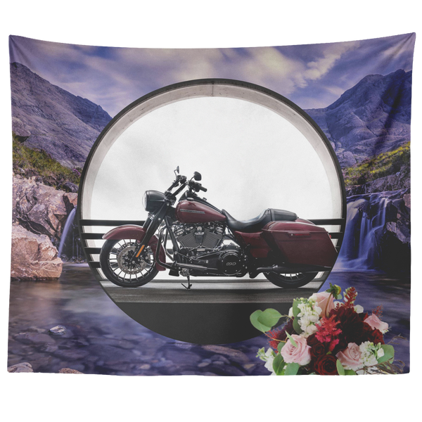 Harley Motorcycle Tapestry - The Green Gypsie