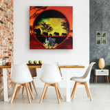 Elephant Sunset Canvas