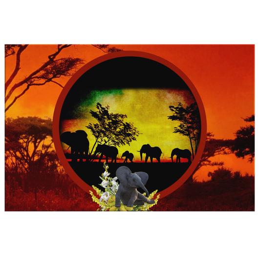 Elephant Sunset Rectangle Canvas - The Green Gypsie
