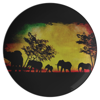 Elephant Sunset Plate - The Green Gypsie