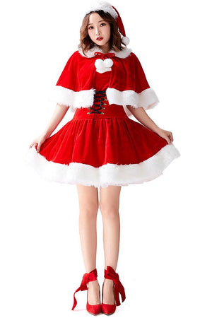 Christmas Dress with Cloak for Adult Women