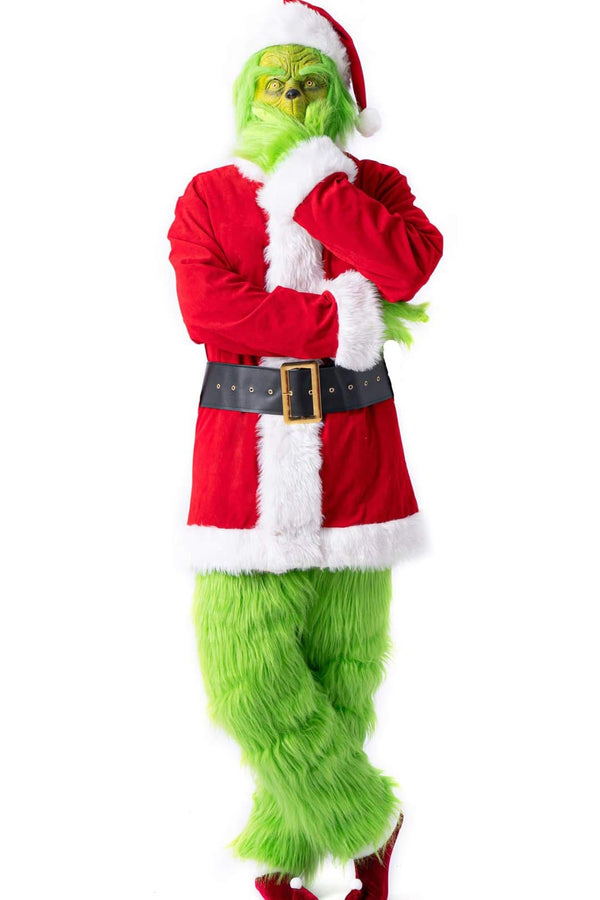 Adult Santa Grinch Costume Outfit, Faux Fur
