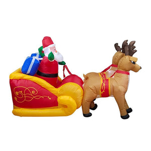 Christmas Inflatable Santa on Sleigh with Reindeer and Gift Boxes Blow Up Yard Decoration