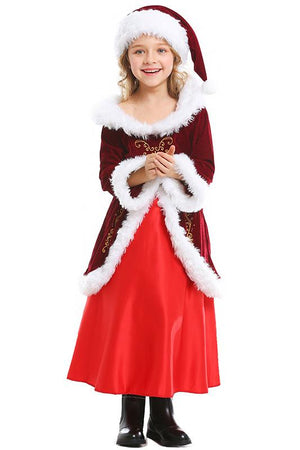Mrs Santa Claus Suit Dress Costume For Kids