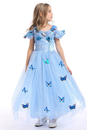 Cinderella Dress with Butterflies For Toddler Girls