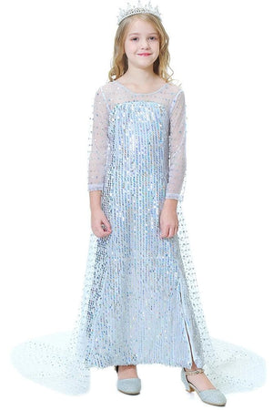 Frozen Elsa White Long Sequin Dress with Cape For Toddler and Girls