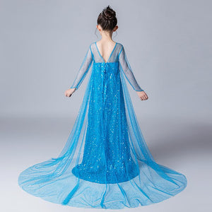 Frozen Elsa Long Dress with Sequins and Trail For Girls