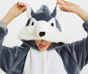 Grey Husky Onesie Costume Men Kids