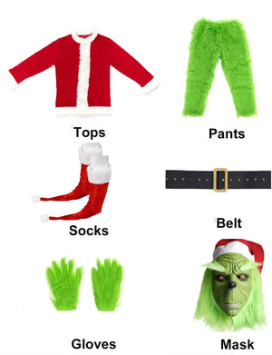 The Grinch Santa Costume Outfit For Adult