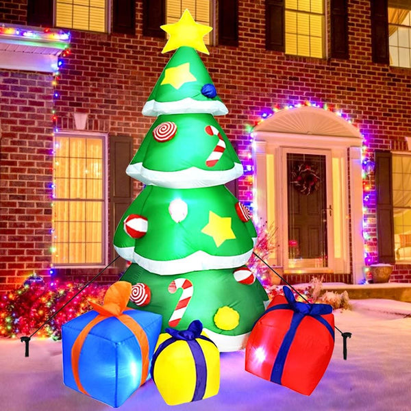 Inflatable Christmas Tree Blow Up Yard Decoration with LED Lights