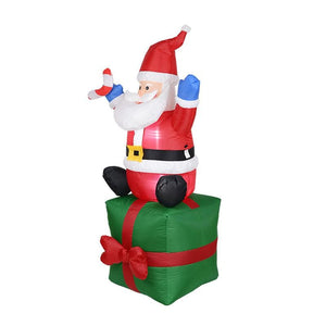 Inflatable Santa Claus on Gift Box Blow Up Yard Decoration with LED Lights