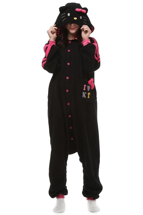 Black Hello Kitty Onesie Costume For Adults And Teenagers Animal