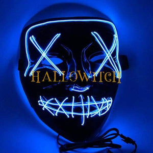 Glow Up Purge Led Mask Costume Blue