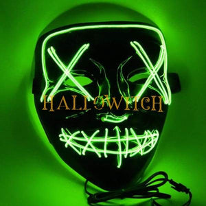 Glow Up Purge Led Mask Costume Green