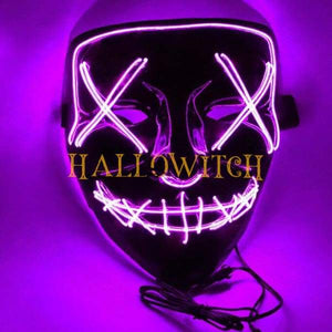 Glow Up Purge Led Mask Costume Purple
