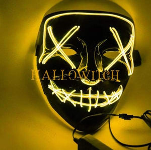 Glow Up Purge Led Mask Costume Yellow