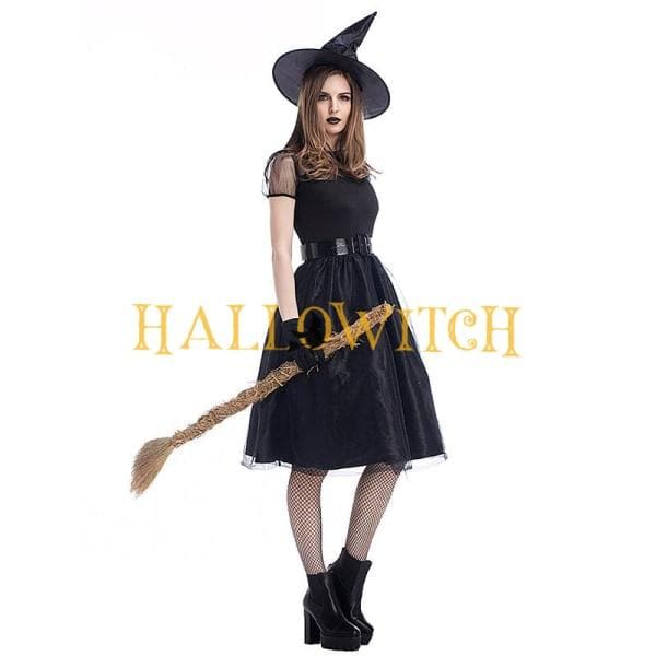 Halloween Witch Dress And Hat Costume For Adults