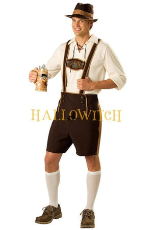 Mens German Beer Fest Oktoberfest Lederhosen Kostüm Traditional Bavarian Adult Costume