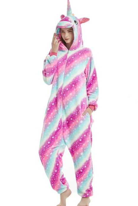 1616ef551f2a Rainbow Star Unicorn Onesie Costume For Adults And Teenagers Animal