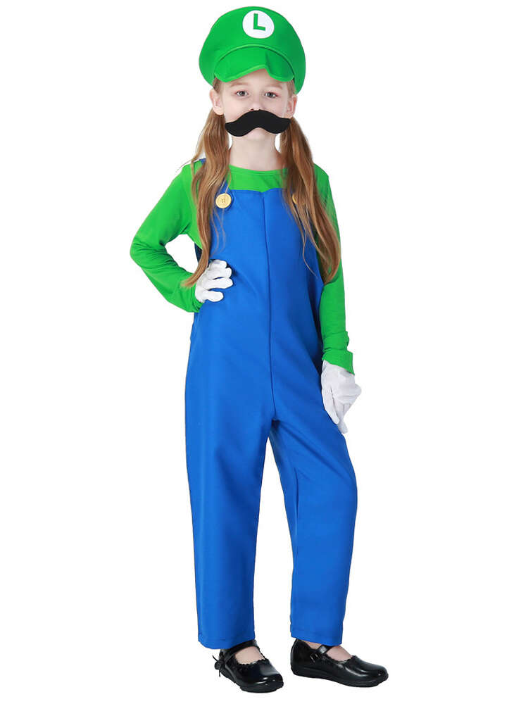 Super Mario Brothers Luigi Costume For Kids Boys And Girls