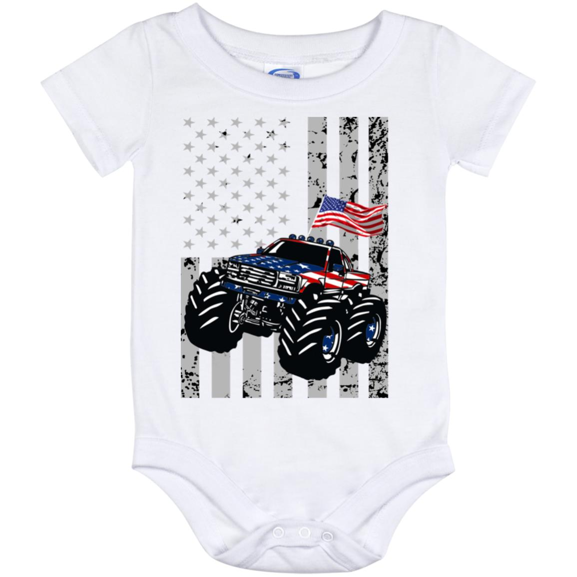 Monster Truck USA Flag Onesie 12 Month