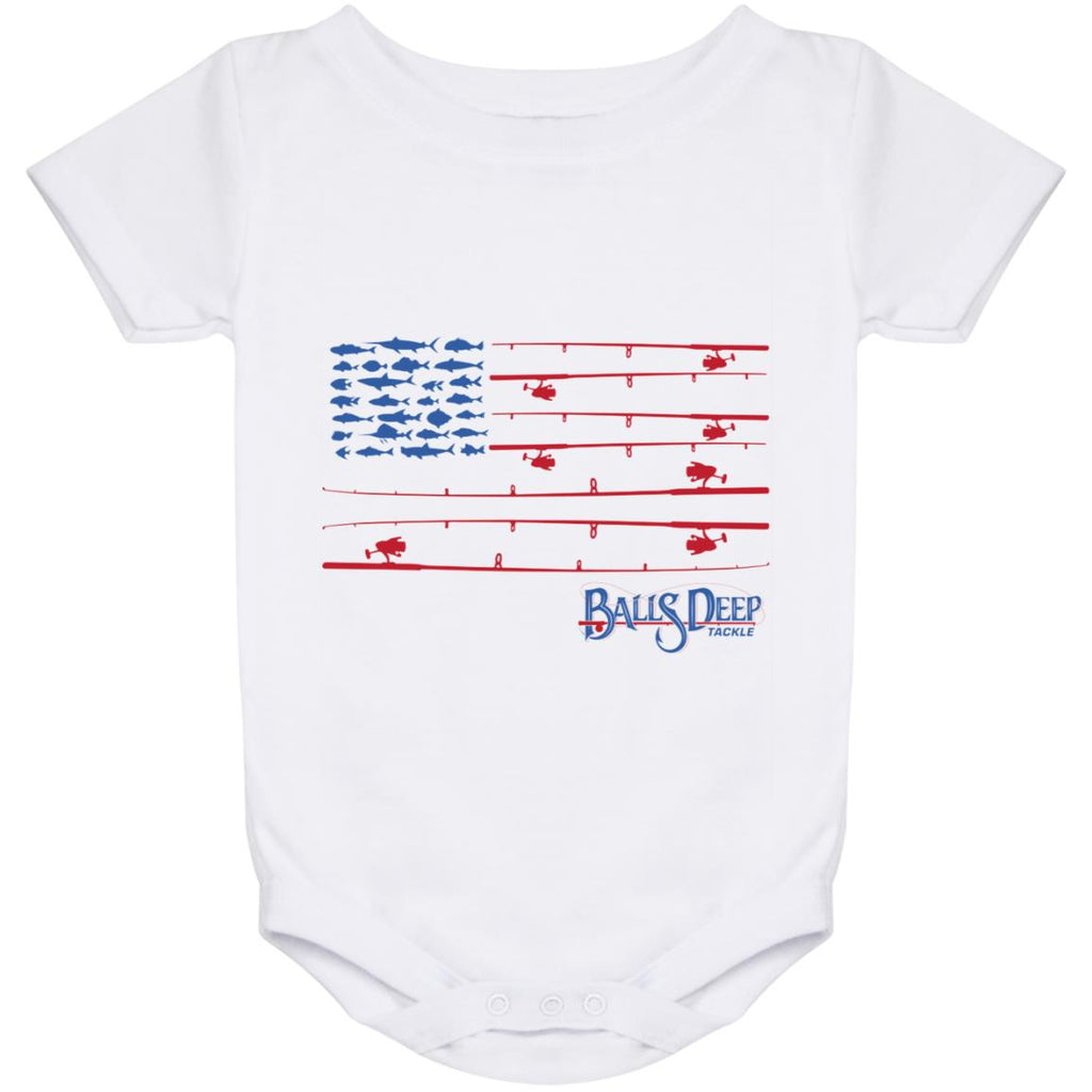 Fishing Rod Flag Baby Onesie 24 Month